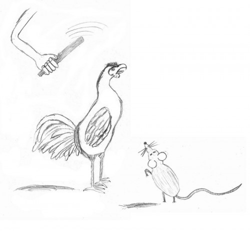 illustration de la fable le coq et le rat.